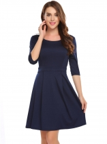 Dark blue Mujeres 3/4 manga sólida O cuello túnica A-Line Casual Dress