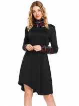 Black Long Sleeve Plaid Patchwork Asymmetric Hem Dress with Scarf