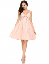 Pink Strappy Bow Tie Button Down Swing Backless Short Dress