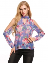 Blue Cold Shoulder Floral Print Long Sleeve Loose Chiffon Tops