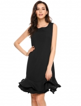 Black Sleeveless Solid Ruffled Hem Sheath Dress