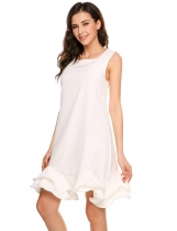 White Sleeveless Solid Ruffled Hem Sheath Dress