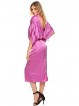 Light purple V-Neck Drawstring Manga Backless Slit Hem salir vestido