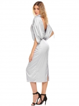 Silver V-Neck Drawstring Sleeve Backless Slit Hem Going Out Dress
