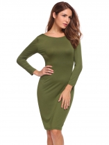 Army green Slim Fit 3/4 Sleeve Backless Dress