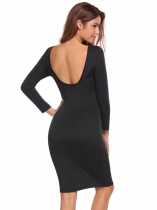 Negro Negro Mujeres elegante Slim Fit 3/4 manga Backless Bodycon Midi vestido