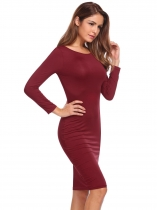 Rojo de vino Mujeres elegante Slim Fit 3/4 manga Backless Bodycon Midi vestido