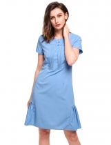 Blue Vintage Style O-neck Short Sleeve Pencil Dresses