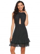 Black Sleeveless Front Cut-out Polka Dot Ruffled Chiffon Dress