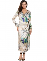 Khaki Femmes Vintage Style Wrap Front V-Neck Long Sleeve Printing Stain Maxi Dress