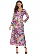 Purple Wrap Front V-Neck Long Sleeve Printing Stain Dress