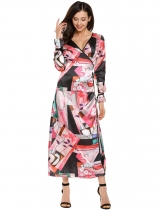 Red Wrap Front V-Neck Long Sleeve Printing Stain Dress