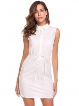 White Femmes Casual Turn down Collar sans manches Button Solid Shirt Design Dress