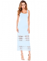 Skyblue Square Neck Lace Hollow Out Patchwork Elastic Tank Maxi Dress