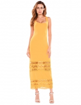 Blé Femmes Casual O-Neck Lace Hollow Out Patchwork Elastic Tank Maxi Dress