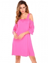 Rose red Flare Sleeve Cold Shoulder Elastic Loose Solid Dress