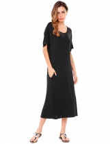 Black Half Sleeve Back Hollow Out Elastic Maxi Dress