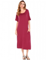Wine red Half Sleeve Back Hollow Out Elastic Maxi Dress