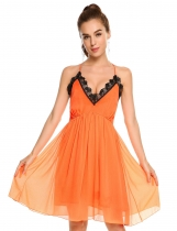 Orange Women Bohemian sans manches Cross Back Lace Patchwork V Neck A-Line Robe