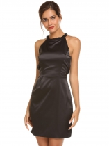 Black Sleeveless Solid Bow Backless Satin Dress