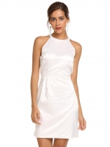White Sleeveless Solid Bow Backless Satin Dress