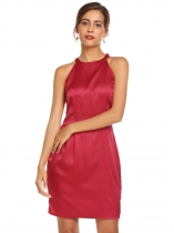 Rojo de vino Mujeres Sexy sin mangas arco sólido Backless Halter Cocktail Party Pencil Dress
