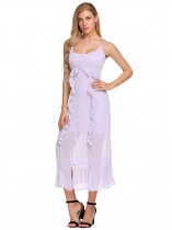 Purple Women Summer Beach Sans manches Ruffles Solid Spaghetti Straps Split Chiffon Maxi Dress