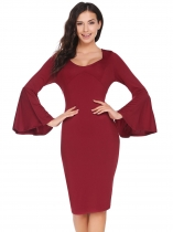 Wine red Trumpet Long Sleeve Solid Pencil Dress