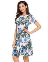 White O-Neck Short Sleeve Floral Ruffled Hem Dress