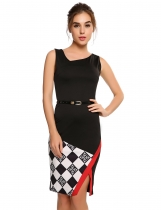 Noir Femmes Mode V-Neck sans manches Contraste Color Slim Belted Pencil Dress