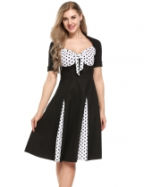 Black Vintage Styles Prints Patchwork Bow Pleated Dress