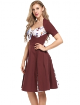 Wine red Vintage Styles Prints Patchwork Bow Pleated Dress