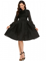 Black Vintage Style Long Sleeve Ruched Solid Swing Dress