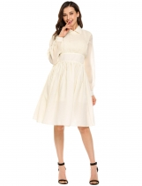 Beige Vintage Style Long Sleeve Ruched Solid Swing Dress