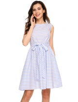 Blue Retro Sleeveless Striped Belted Swing Dress