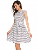 White Retro Sleeveless Striped Belted Swing Dress