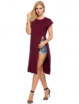 Wine red Short Sleeve Solid Split Long T-Shirt Top
