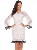White Femmes Casual O-Neck Flare Sleeve Lace Patchwork Floral A-Line Robe sexy plissée