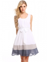 Gray Contrast Color Pleated Hem Chiffon Tank Dress with Lining