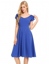 Blue Vintage Styles Solid A-Line Pleated Hem Dress