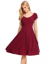 Wine red Vintage Styles Solid A-Line Pleated Hem Dress