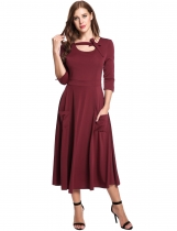 Wine red Vintage Styles Bandage O-Neck 3/4 Sleeve Elastic A-Line Casual Dress
