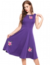 Purple Vintage Floral Embroidery Elastic A-Line Pleated Hem Dress