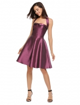 Purple Mujeres Casual sin mangas sólida Halter Vintage Party Swing Dress