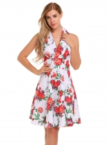 White Sleeveless Floral Print Halter Skater Dress