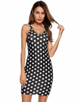Polka dot Sleeveless Spaghetti Strap Back Hollow Out Bodycon Dress