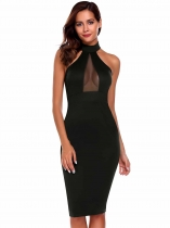 Black Sleeveless Solid High Neck Pencil Dress