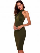 Vert Femmes Sexy sans manches Solid Halter Party Club Bodycon crayon cravate