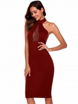 Red Sleeveless Solid High Neck Pencil Dress