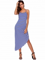 Blue Sleeveless Striped Ruched Asymmetrical Dress